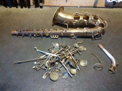 Sax disassembled for restoration